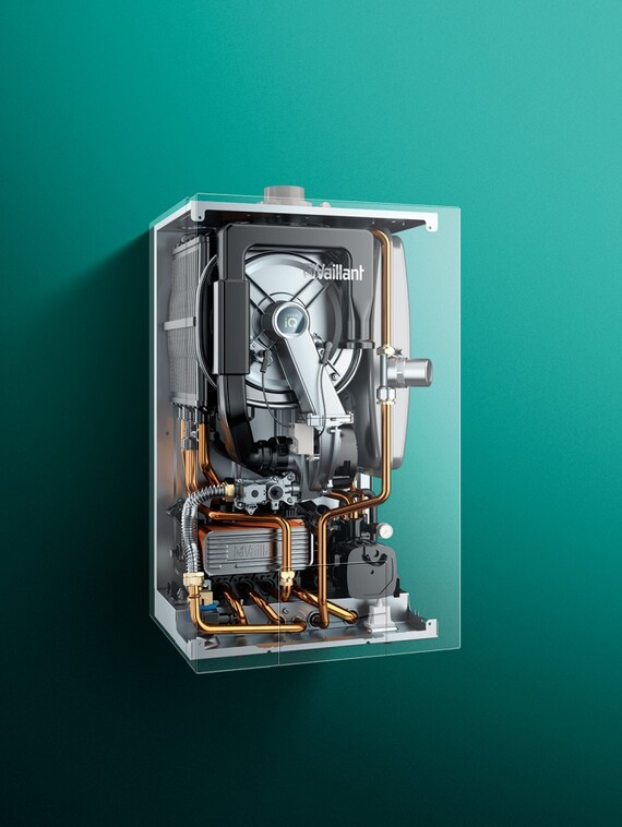 Inside components of the wall-hung boiler ecoTEC exclusive