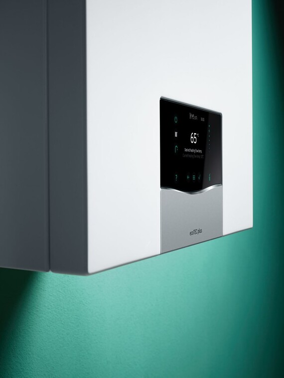 Partial side view on wall-hung boiler ecoTEC plus display